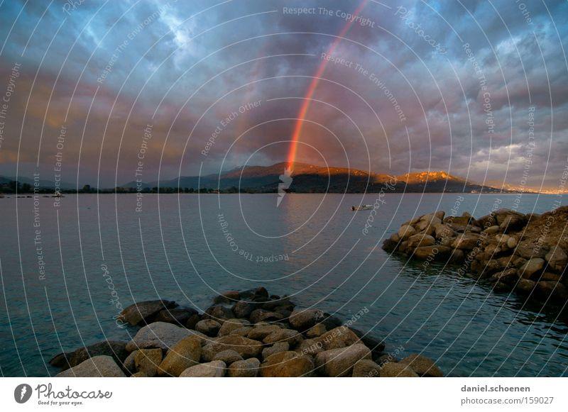 Schatzinsel Regenbogen Insel Gewitter Sonne Sonnenstrahlen Meer Wasser Ferien & Urlaub & Reisen Reisefotografie Mittelmeer Himmel Strand Küste Licht Korsika