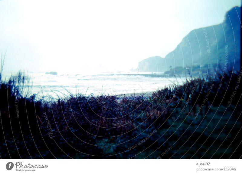 99 mile beach Strand Wolken Traurigkeit Küste Felsen Australien trüb Klippe Neuseeland Gischt