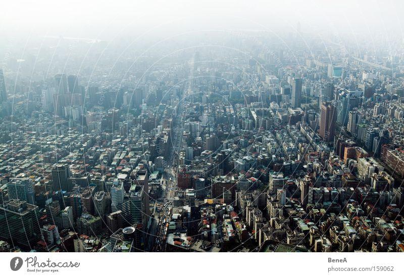 Stadt Himmel Straße Gebäude groß Hochhaus Stadtleben Aussicht Asien Skyline Smog Umweltverschmutzung Taiwan Taipeh Urbanisierung