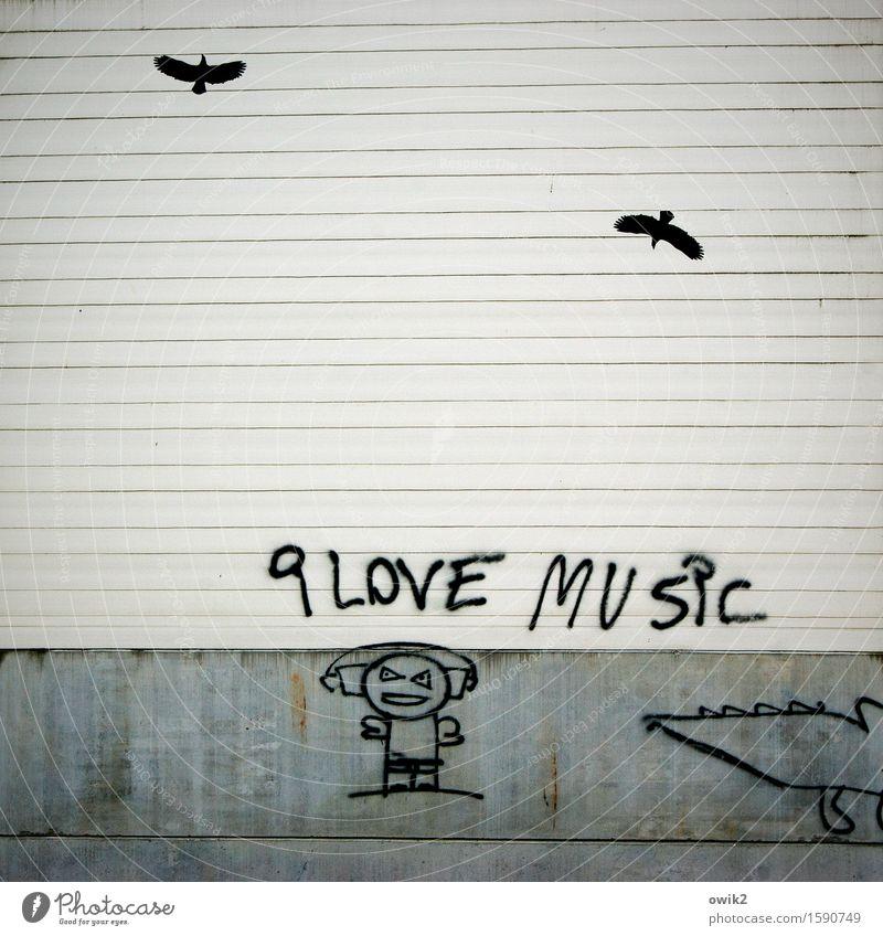 Hipster Freizeit & Hobby Kunstwerk Kultur Jugendkultur Subkultur Graffiti Grafische Darstellung Zeichnung Mensch Kopfhörer Musik hören Mauer Wand trashig