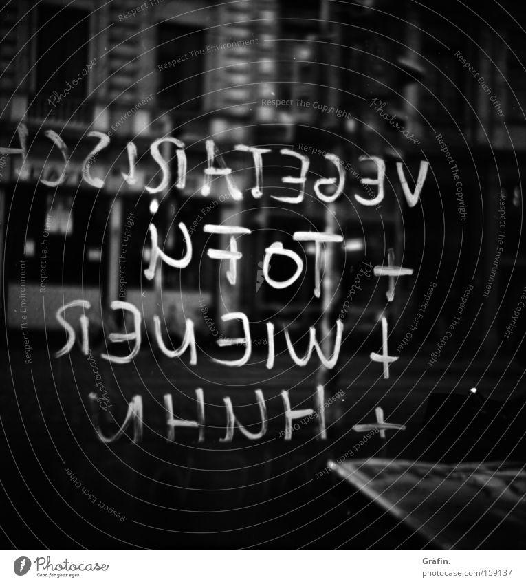 [HB 09.1] Wie hätten's denn gern? Angebot Café Kreide Glasscheibe Tofu Würstchen Haushuhn Auswahl Ernährung Reflexion & Spiegelung Bremen Buchstaben