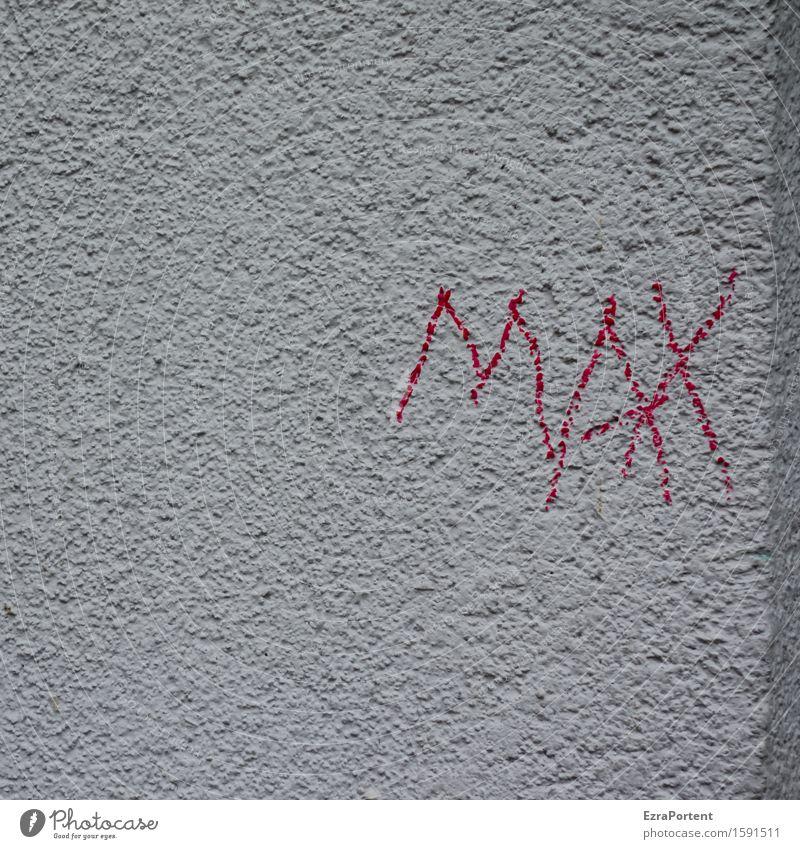 Moritz Haus Gebäude Mauer Wand Fassade Stein Beton Zeichen Schriftzeichen Graffiti grau rot maximiert minimalistisch Name Ecke Farbfoto Außenaufnahme