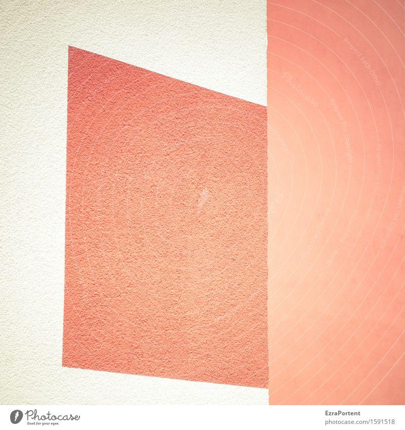 . Haus Mauer Wand Fassade Stein Beton Zeichen Linie Streifen ästhetisch eckig hell rot weiß Design Farbe graphisch Grafik u. Illustration Grafische Darstellung