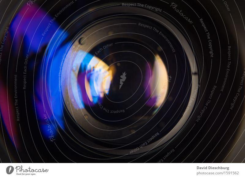 Linse Freizeit & Hobby Glas blau grau violett schwarz türkis Fotografie Video Objektiv Querformat Gerät Fotokamera Videokamera Lichtbrechung glänzend