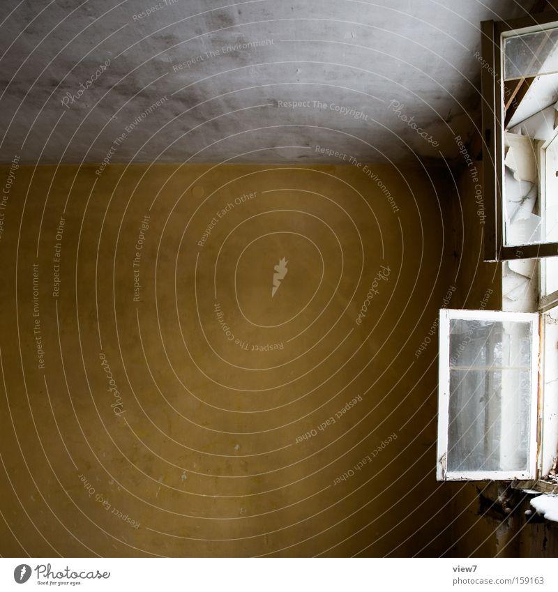 Fensterfront Schaufenster Wand Decke Putz Anstrich Farbe Farbstoff Lack Fensterscheibe Glas Flügel offen Windzug lüften verfallen Detailaufnahme Zugluft