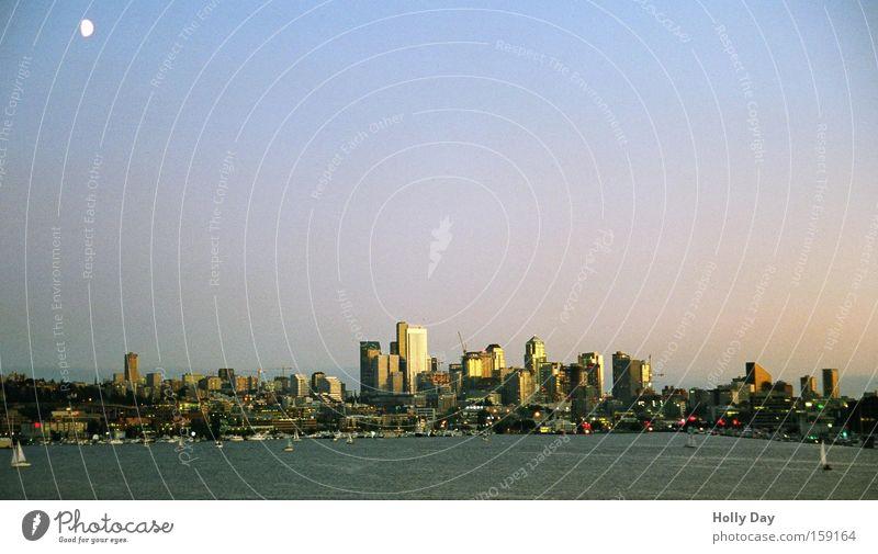 Schlaflos in Seattle Himmel Meer Stadt Hochhaus USA Aussicht Amerika Skyline Mond Schönes Wetter Verlauf Segelschiff