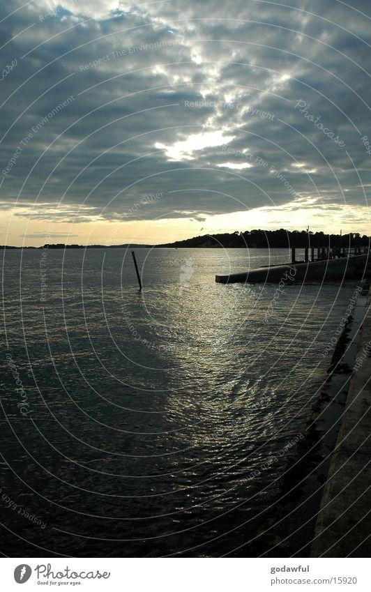 Abendhimmel Wasser Himmel Wolken Insel Hafen Anlegestelle