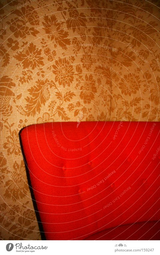 .:: oma style ::. rot Tapete Muster Sessel Raum retro Stil Schlafzimmer