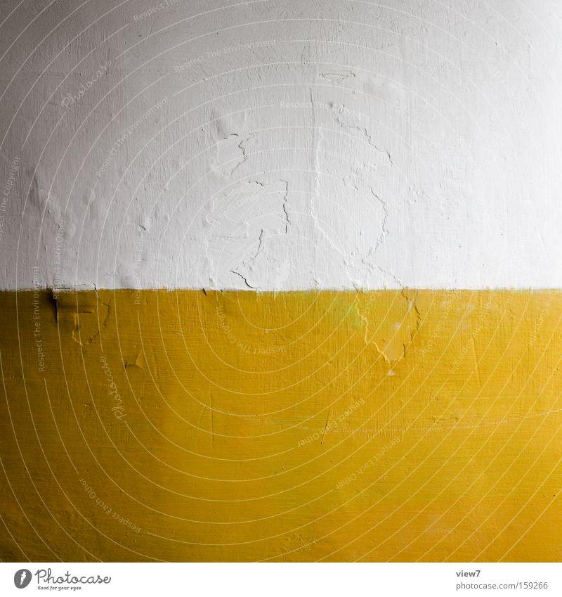 Einerlei weiß gelb Farbe Anstrich Putz Oberfläche Auftrag Lack Wand Mauer Raum Ecke Kontrast Eigelb Detailaufnahme Flur Map