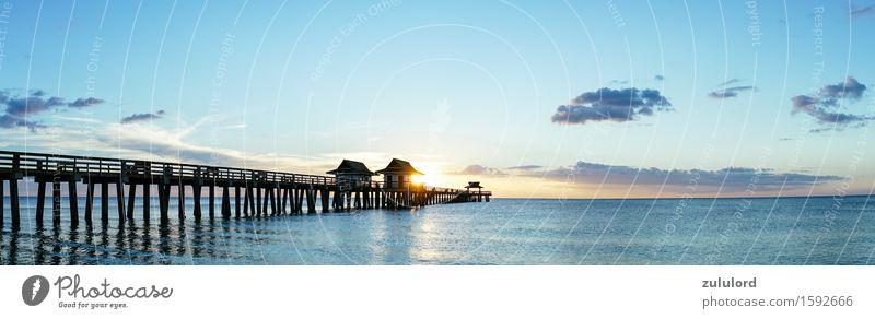 Das Pier Ferien & Urlaub & Reisen Sommer Strand Meer Wellen Umwelt Natur Wasser Himmel Horizont Sonnenaufgang Sonnenuntergang Schönes Wetter Küste blau türkis