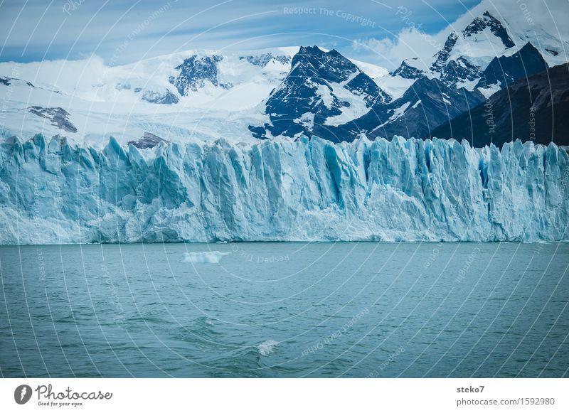 blau Winter Berge u. Gebirge Gletscher Küste kalt weiß Wandel & Veränderung Perito Moreno Gletscher Am Rand Gletschereis Gedeckte Farben Menschenleer