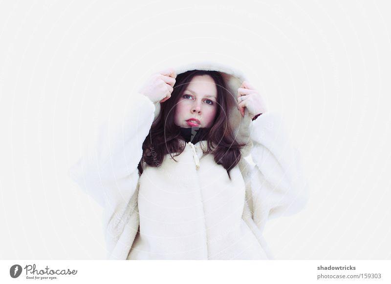 Weiss Zwei Frau Mensch schön weiß Winter Schnee Porträt Respekt erstaunt Hochmut staunen