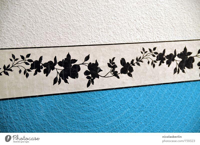 Weiß zu Blau Borte weiß blau schwarz Möbel Design Wand Tapete Dekoration & Verzierung gemütlich Blume Muster Streifen Kunst Kunsthandwerk Detailaufnahme schön