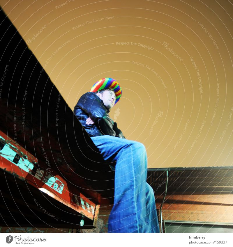 rainbow cowboy Mensch Mann Jugendliche Perspektive Bekleidung Jeanshose Karneval Hut Jeansstoff Cowboy Beruf