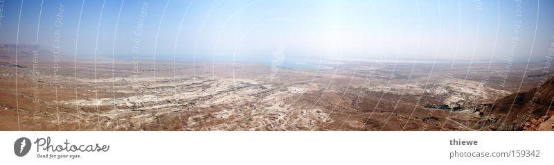 Tote Meer Sommer Ferne Stein Sand braun groß Erde leer Wüste heiß Hügel trocken Staub Panorama (Bildformat) Dürre karg
