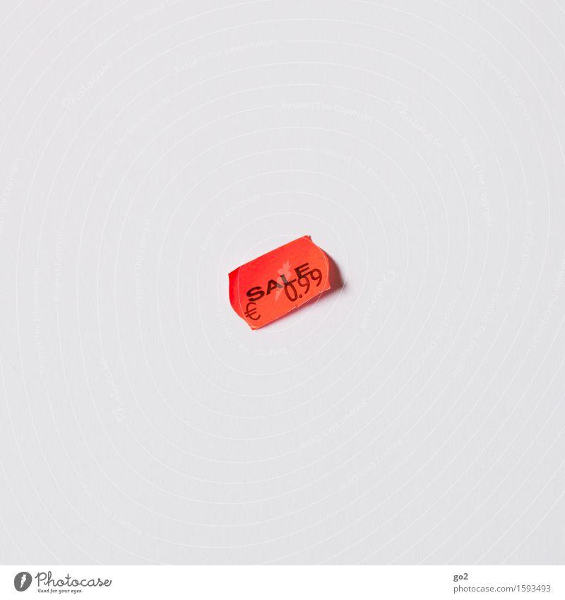Sale kaufen Geld sparen Handel Etikett Schriftzeichen Ziffern & Zahlen Schilder & Markierungen Eurozeichen Billig orange weiß sparsam Armut Konkurrenz