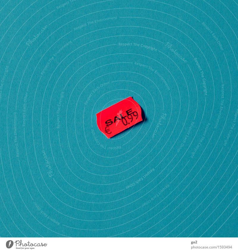 0,99 kaufen Geld sparen Handel Etikett Papier Karton Ziffern & Zahlen Schilder & Markierungen Eurozeichen verkaufen einfach Billig blau rot sparsam Armut