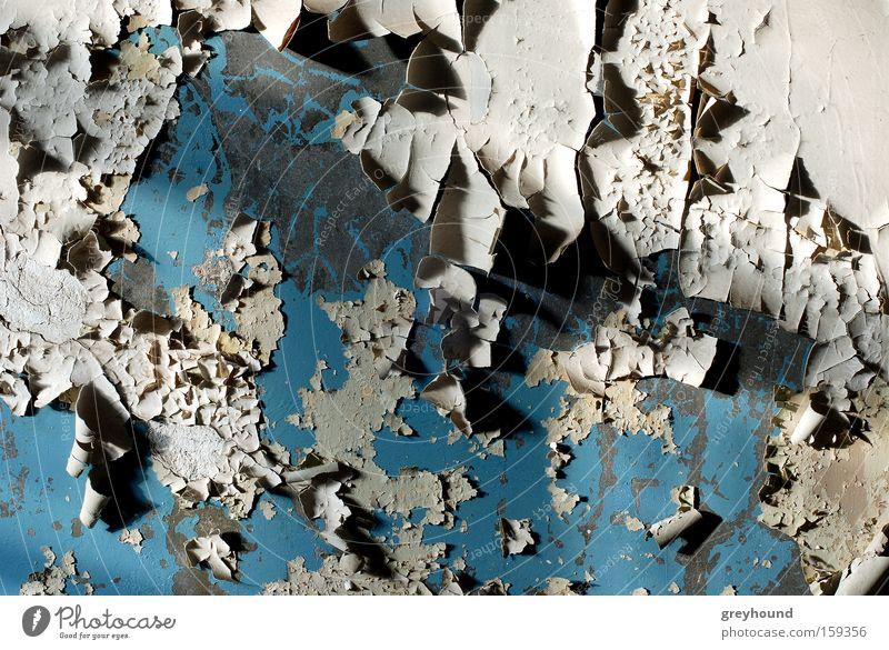Hautverlust alt blau Einsamkeit trist Vergänglichkeit Tapete verfallen Ruine Putz abblättern