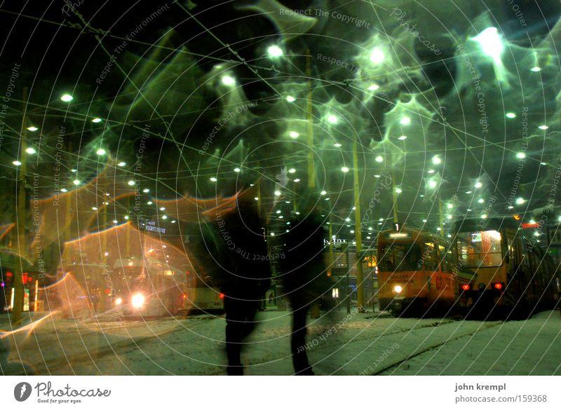 encore une fois Platz Schnee Graz Stadt 8 Nachtleben Verkehr Beleuchtung Lampe Straßenbeleuchtung Licht Verkehrswege Winter schneetreiben