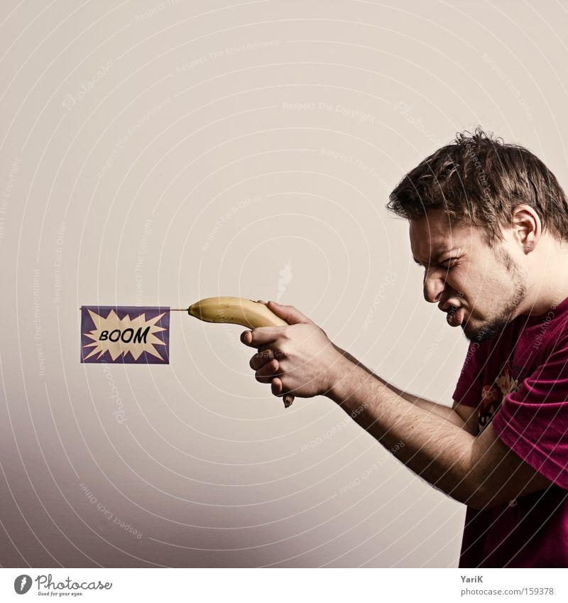 BOOM Mann Hand lustig Arme Frucht Philosophie Waffe Pistole krumm Banane Schuss schießen Moral erschießen