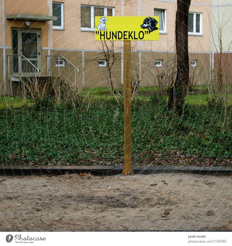 Unser neues Hundeklo Haus klein Holz Fassade dreckig Schilder & Markierungen Ordnung Schriftzeichen Hinweisschild Sauberkeit planen Zeichen Kunststoff Ziel rein