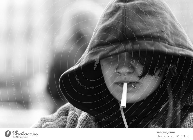 hannover Mensch weiß Winter schwarz Straße Zigarette