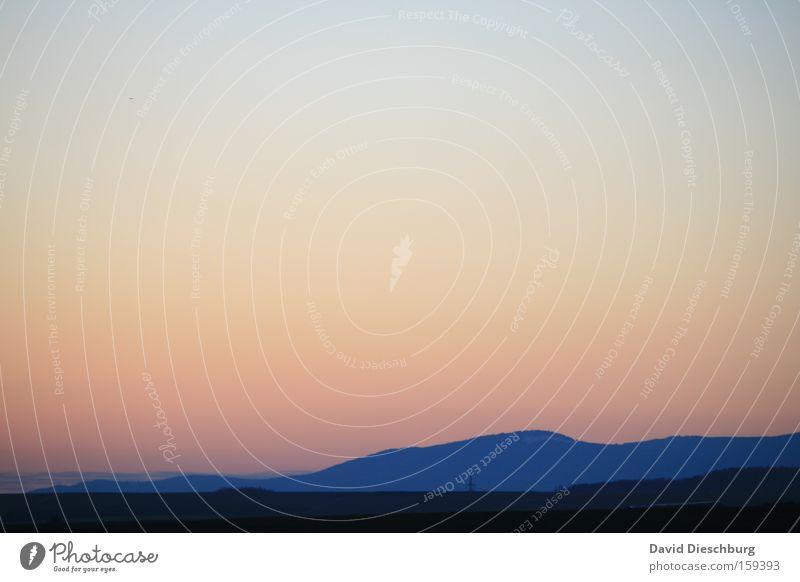 Horizont Farbfoto Außenaufnahme Morgen Morgendämmerung Abend Dämmerung Schatten Kontrast Silhouette Sonnenaufgang Sonnenuntergang Panorama (Aussicht) Weitwinkel