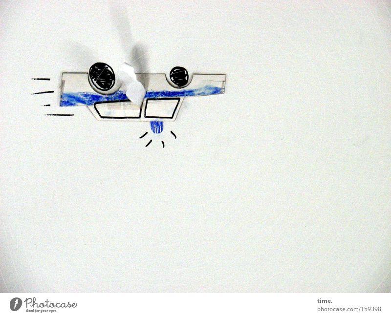 HB09.1 - Heute die Welt mal wieder mit anderen Augen sehen PKW blau Wand Kunst fliegen Papier Kommunizieren Kultur Handwerk Gemälde Schweben KFZ Zeichnung