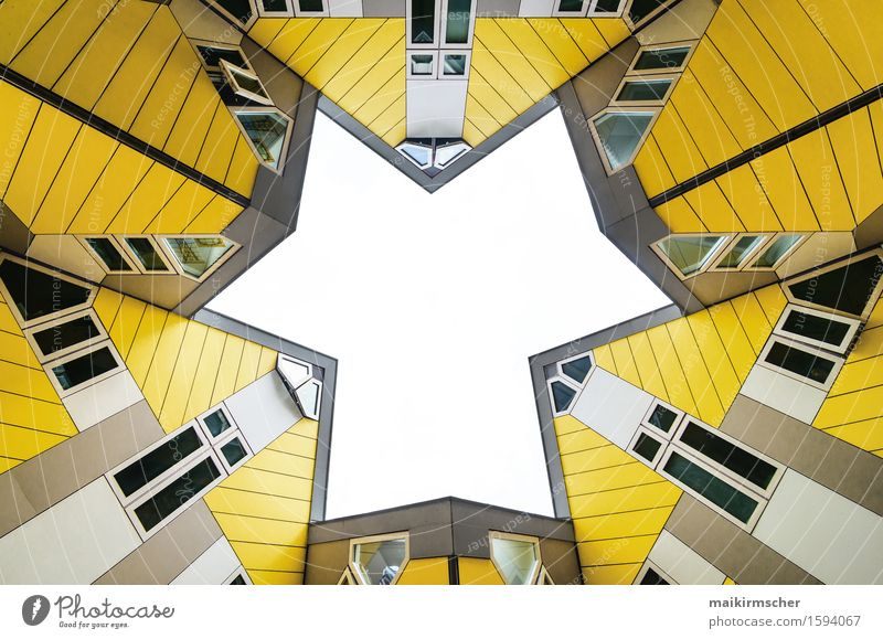 Kubushäuser Rotterdam Stadt Farbe Haus schwarz gelb Architektur Gebäude außergewöhnlich Design Tourismus Ordnung modern Zukunft Spitze Stern (Symbol) Netzwerk