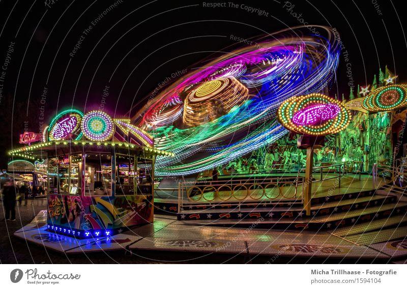 Rummel Freude Freizeit & Hobby Feste & Feiern Jahrmarkt Veranstaltung Stadt Linie Streifen Bewegung drehen fahren festhalten leuchten Fröhlichkeit gigantisch