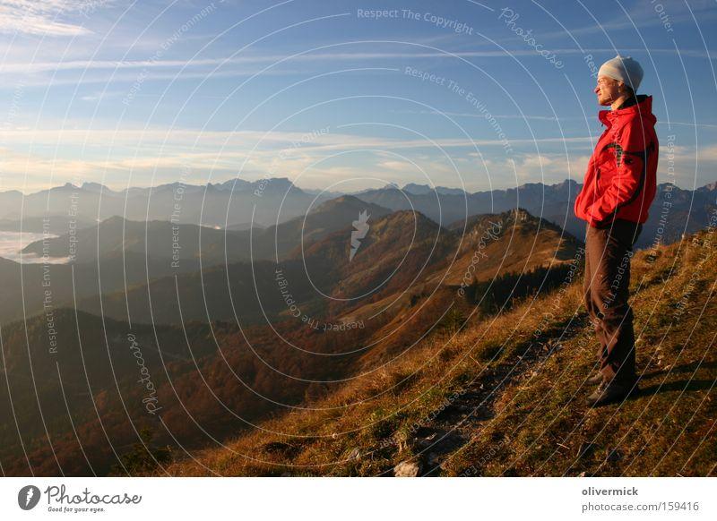 blick in die ferne Freude Farbe Gefühle Berge u. Gebirge Glück Kraft wandern Hoffnung Alpen Gipfel verschönern Bergsteiger Energiespender