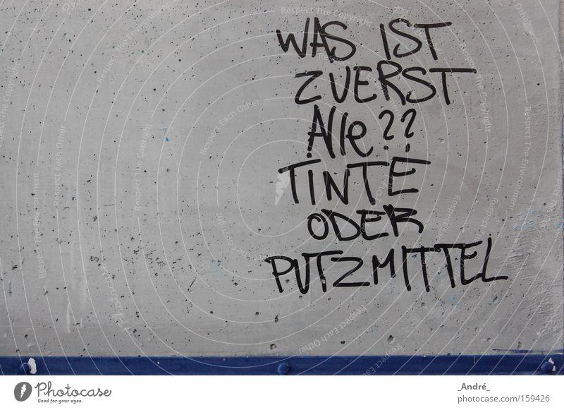 quizfrage blau grau Graffiti lustig Beton Fragen Tinte Tintenfaß Schmiererei ungeheuerlich Wandmalereien Reinigungsmittel