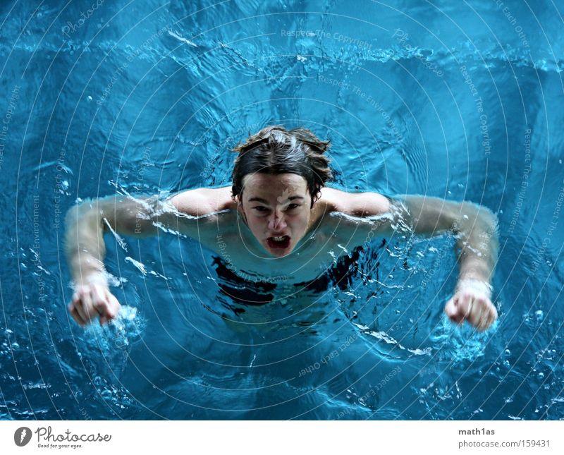Wasserdämon blau grau Kopf Wellen Schwimmbad Wut türkis böse Muskulatur Ärger Teufel Unterwäsche