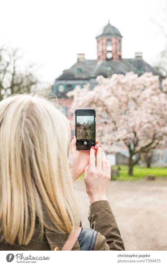 Im Fokus Freizeit & Hobby Junge Frau Jugendliche Erwachsene Kopf Haare & Frisuren 18-30 Jahre 30-45 Jahre Baum Blühend blond Frühlingsgefühle Fotografieren PDA