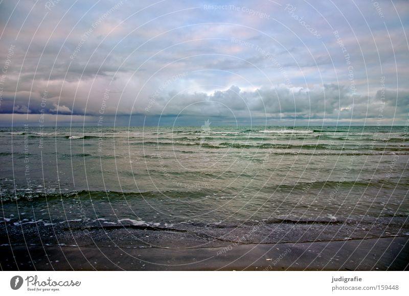 Ostsee Wasser Himmel Meer Strand Wolken Ferne Farbe kalt Erholung Wellen Küste Sehnsucht Darß