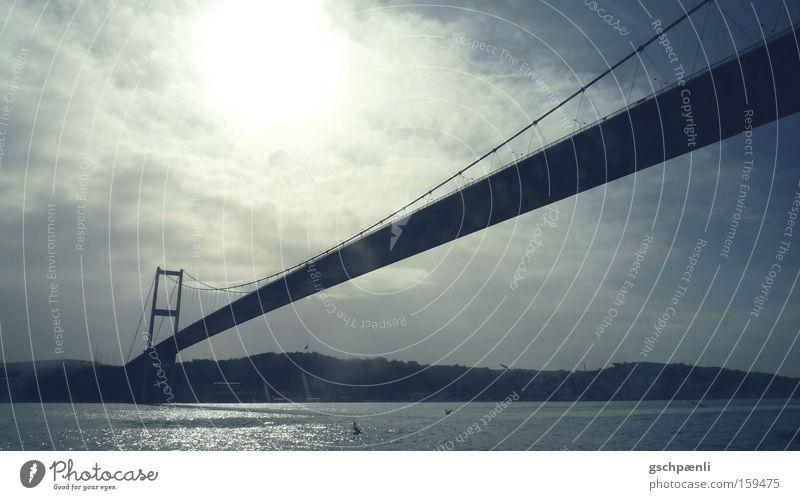 Istanbul: the longer the better Brücke Länge Ferne Verbindung Himmel Wolken Stahl Wasser Fluss Landschaft Aussicht blau