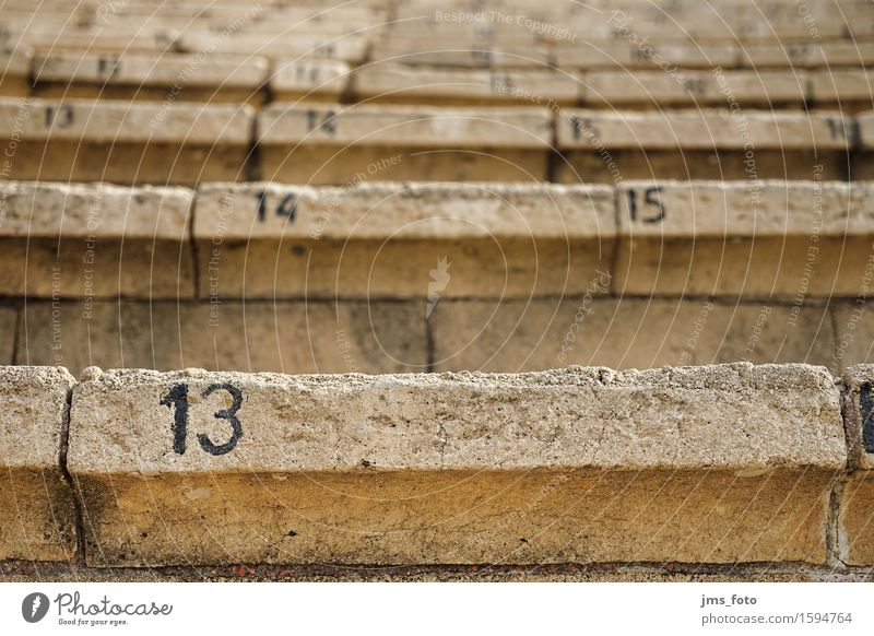 dreizehn Architektur Stein Treppe Vergänglichkeit Ziffern & Zahlen Veranstaltung Verfall Theaterschauspiel Israel Amphitheater Platznummer