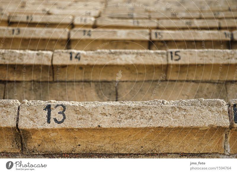 dreizehn Platznummer Veranstaltung Theaterschauspiel Amphitheater Treppe Stein Ziffern & Zahlen Verfall Vergänglichkeit Israel Farbfoto Außenaufnahme