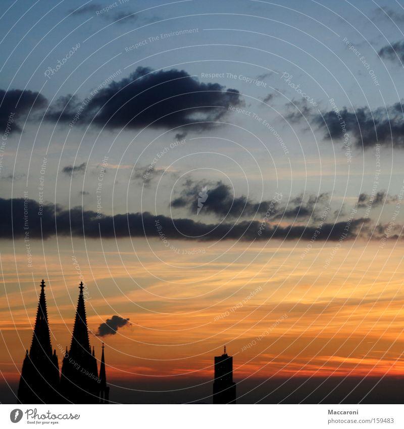 Heimatsgefühle Stadt Köln Dom beweglich Gotteshäuser Sonnenuntergang Kirche Kölner Dom
