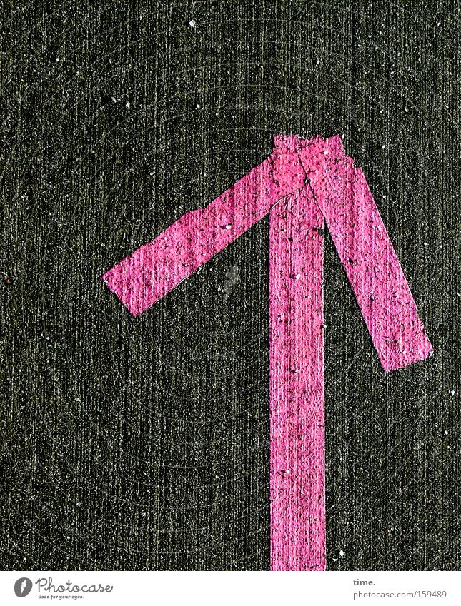 HB09.1 - The Pink Way Kunst Kultur Verkehrswege Wege & Pfade Asphalt Stein Kunststoff Hinweisschild Warnschild Linie Pfeil rosa Bewegung Dienstleistungsgewerbe