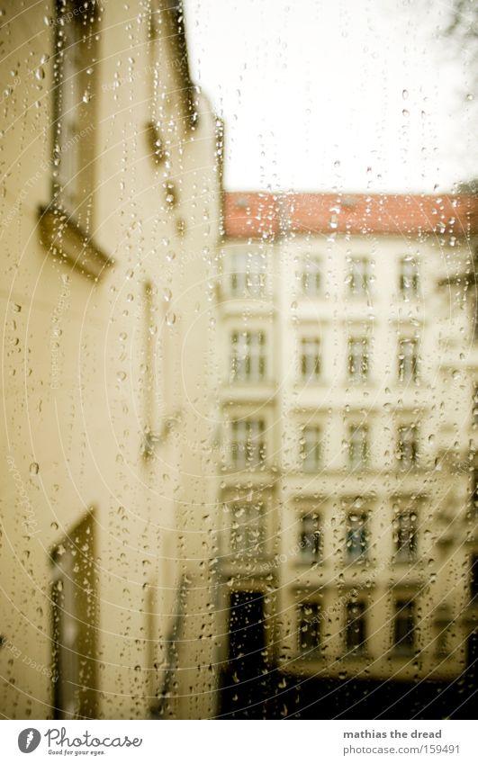 RAINY DAY Fensterscheibe Scheibe Aussicht Regen Wasser Wassertropfen Tropfen Wetter Hinterhof Haus Fassade trist grau Winter Himmel Vergänglichkeit