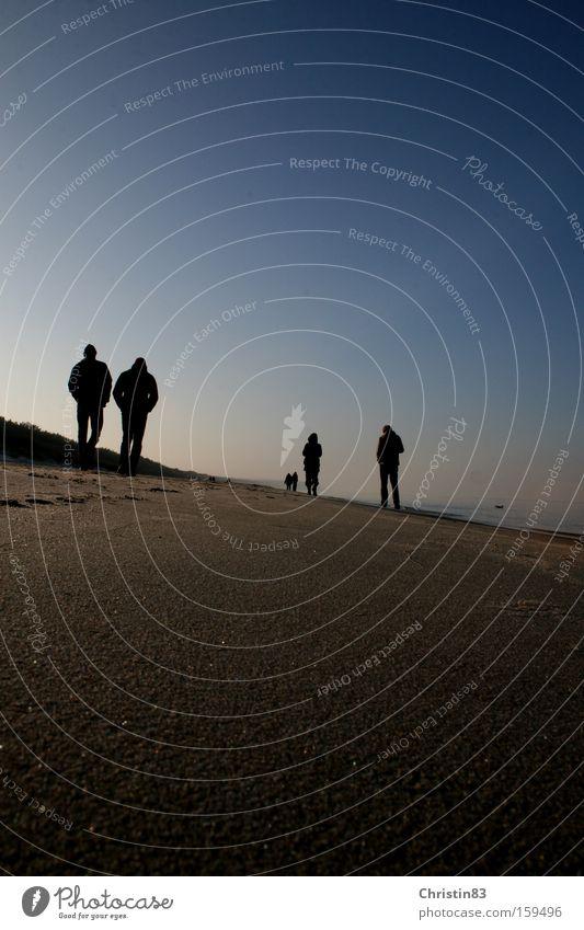 Spaziergang Meer Strand Mensch Himmel blau Ostsee ruhig Sand Glätte Erholung Usedom Winter Küste Polen Schönes Wetter
