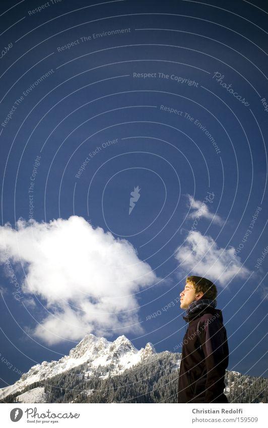 Sonnen Himmel Mann Jugendliche Winter Wolken Schnee Berge u. Gebirge Freiheit Alpen Sonnenbad Schneelandschaft Italien