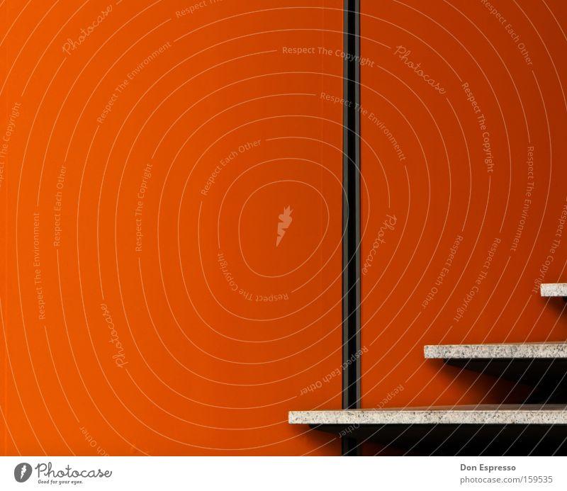 98% Orange rot Farbe Wand Architektur Mauer Lampe Linie orange Treppe leuchten einfach Grafik u. Illustration graphisch sehr wenige simpel