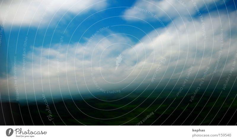 verwischte Landschaft II Himmel weiß grün blau Ferien & Urlaub & Reisen Wolken Geschwindigkeit Vergänglichkeit Hügel vergangen Landschaftsformen