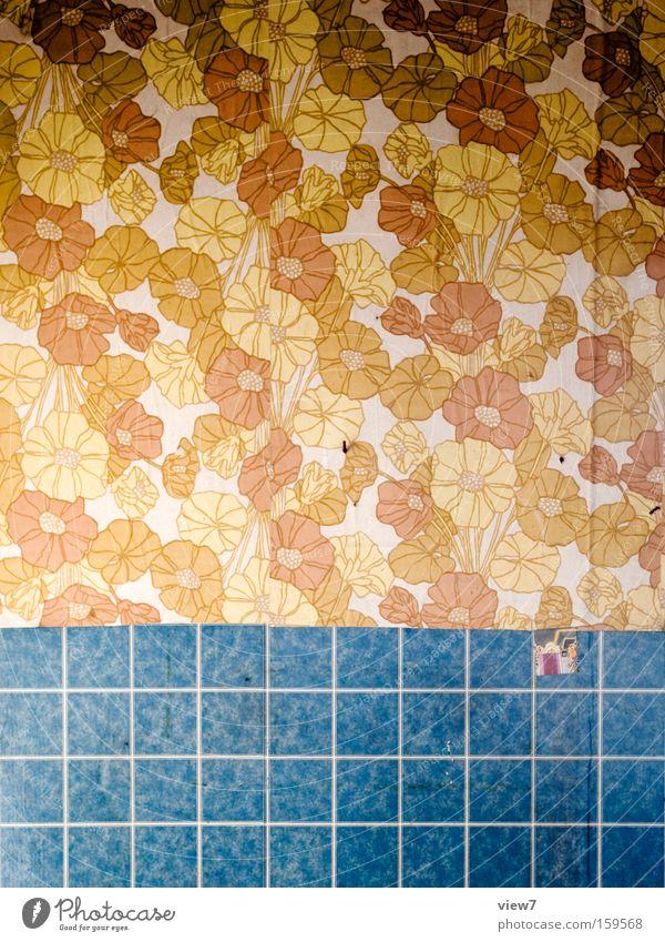 Blumenmeer Wand Hintergrundbild Papier retro Dekoration & Verzierung Tapete obskur Verfall DDR Siebziger Jahre Bahn gestalten Achtziger Jahre Tapetenmuster