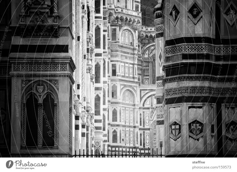Tunnelblick weiß schwarz Religion & Glaube Fassade Kirche Italien Toskana historisch tief Wahrzeichen Tiefenschärfe Dom Marmor Gotteshäuser Katholizismus Florenz