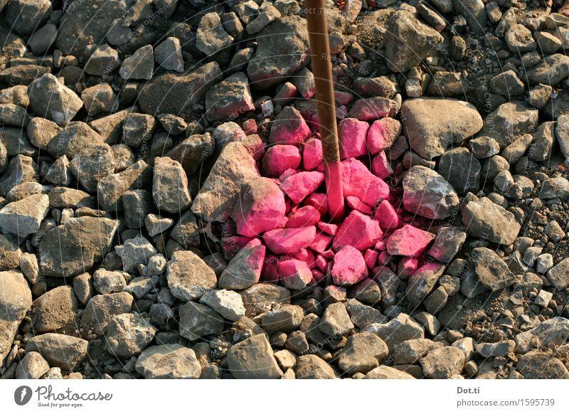 pink painter Baustelle Stein Metall rosa Kies Stab Schilder & Markierungen Messpunkt Spray neonfarbig Warnhinweis angesprüht abgesteckt claim markant Straßenbau