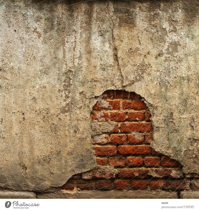 *200* Anonym maskulin Kopf Mauer Wand Beton Backstein außergewöhnlich kaputt trist trocken rot Verfall Vergangenheit Vergänglichkeit Putz verfallen Phantasie
