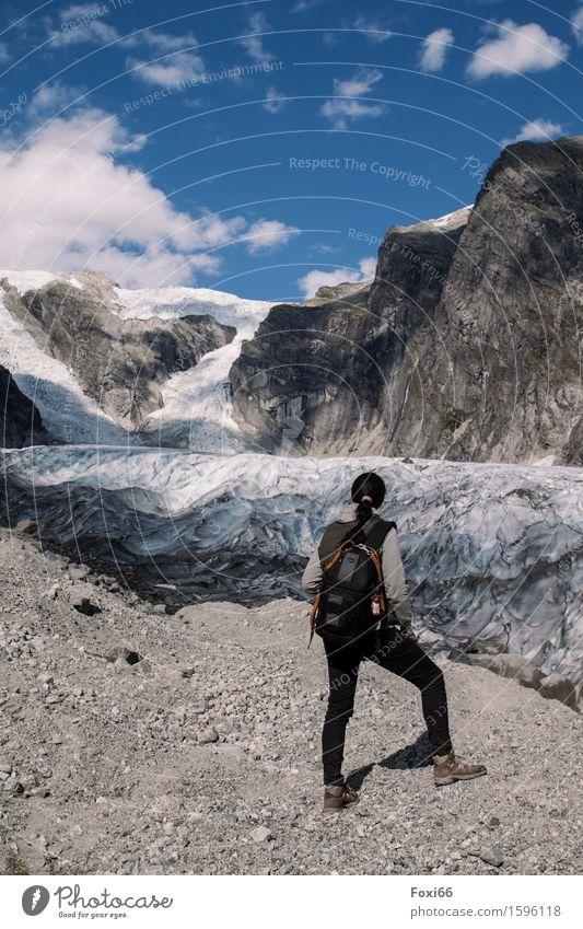 wandern in Norwegen Landschaft Erde Sommer Klima Klimawandel Schönes Wetter Eis Frost Berge u. Gebirge Gletscher Gletscherzunge Stein Sand beobachten genießen